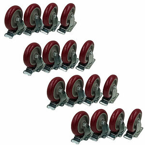 16 Plate Wheel Casters 5 Polyurethane All Swivel And All Brake Heavy Duty