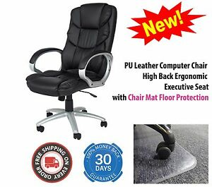 Pu Leather Computer Chair High Back Ergonomic Executive Swivel Office W Mat Set