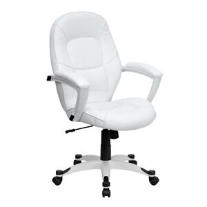 White Leather Office Chair Computer Desk Mid Back Executive Manager Swivel Offic