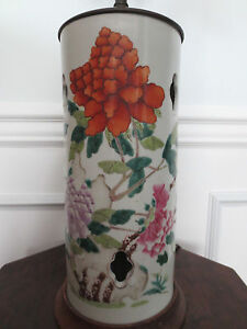 Antique 19th Century Chinese Famille Rose Porcelain Hat Stand Lamp