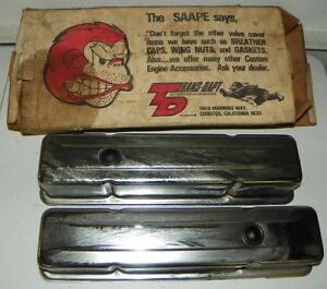 Vintage Nos Trans Dapt Sbc Chrome Valve Covers With Original Box Great Display