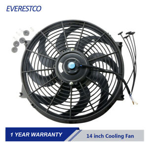 1x14 Inch Universal Slim Pull Push Racing Electric Radiator 12v Cooling Fan