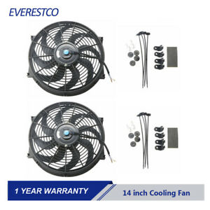 Set 2 14 Inch Universal Slim Push Pull Electric Radiator Cooling Fan Mount Kit