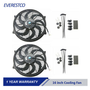 2pc 12v 16 Inch Universal Slim Push Pull Electric Radiator Cooling Fan Mount Kit