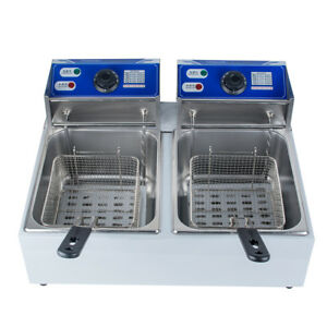 11l Dual Tanks Electric Deep Fryer Commercial Tabletop Fryer basket Scoop 5000w