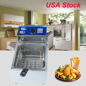 Electric Countertop Deep Fryer Kitchen French Fry W basket Stainless Steel Usa