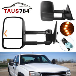 Power Heated Led Signals Tow Mirrors For 03 06 Chevy Silverado 1500 2500 Hd 3500
