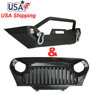 Front Bumper W Winch Plate Angry Bird Grillew W Mesh 4 Jeep Wrangler Tj 97 06