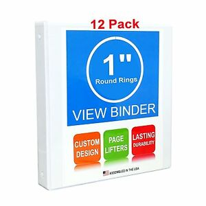 3 Ring Binder 1 Inch Round Rings White Clear View Pockets 12 Pack
