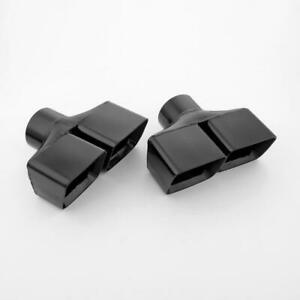 Pair 3 All Black Quad Square Stainless Steel Exhaust Tips For Dodge Challenger