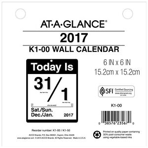 At a glance Wall Calendar 2017 Today Is Daily 6 X 6 k100