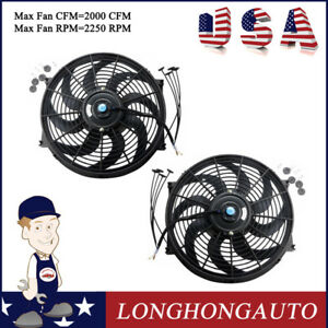 2 X 14 In Universal Kit Pull Push Racing Electric Radiator Engine Cooling Fan