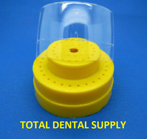 Dental Bur Block Holder Station With Lid Holds 60 Burs Yellow Ships Free Usa