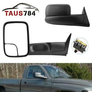 Tow Mirrors Power Heated Passenger Driver Side For 1994 1997 Dodge Ram 1500 2500