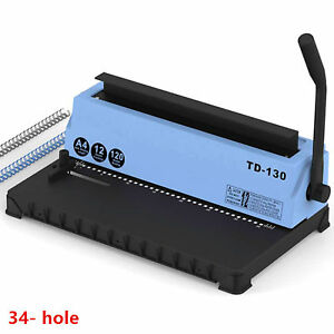 Manual 34 hole Metal Binding Machine Wire Coil Punching Binder Square Hole