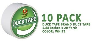 Duck Brand Duck Tape 1265015 White 1 88 Inches X 20 Yards 10 Pack
