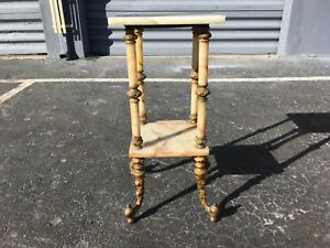 Antique Marble Plant Stand Pedestal End Table Gold Color Cast