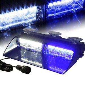 16 Led White Blue 18w Windshield Emergency Flash Strobe Light Interior Dash
