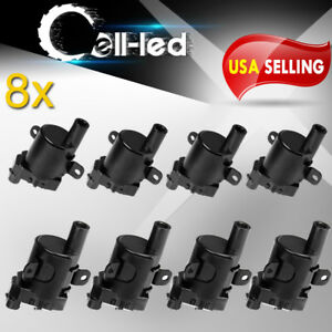 8x Round Ignition Coils On Plug Pack For Cadillac Buick Chevy Isuzu Gmc V8 D585