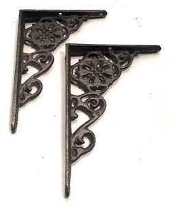 Shelf Brackets Architectural Cast Iron Delicate Filigree Floral Vintage Style