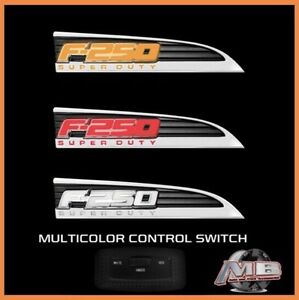 2011 2016 Ford F250 Super Duty Led Recon Front Fender Emblem Badge Pair Chrome