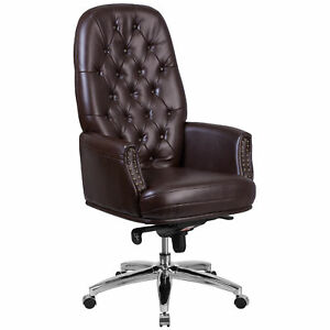 Flash Furniture Brown Leather Multifunction Executive Swivel Chair