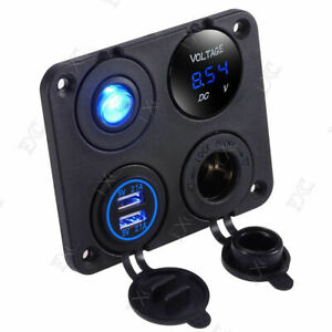 6 24v Voltmeter Blue Led Dual Usb Car Charger Switch Cigarette Lighter Panel