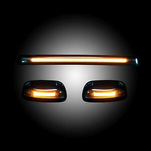 Recon 264156bkhp Gmc Chevy 07 13 2nd Gen Body 3 Piece Smoked Amber Cab Light