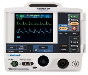 Physio control Lifepak 20 Biphasic 3 Lead Ecg Pacing Analyze Hands Free Aed Mode