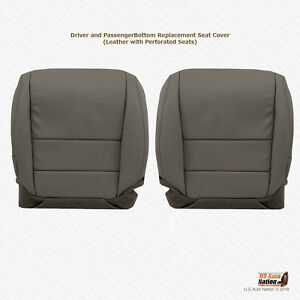Driver Passenger Bottom Perforated Leather Seat Cover Gray Fits 2004 Acura Tl