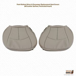 03 06 Mercedes E500 Driver Passenger Bottom Perforated Leather Seat Covers Gray