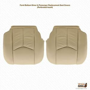 2005 Cadillac Escalade Driver Passenger Bottom Leather Seat Covers Tan