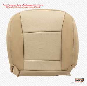 2009 Ford Explorer Passenger Bottom Seat Cover Perforated Leather Two Tone Tan