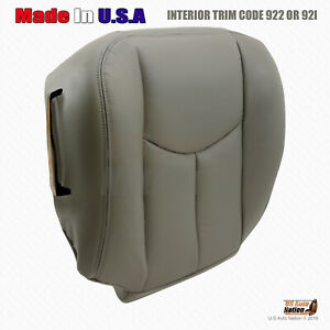 2003 2004 Chevy Tahoe Lt Z71 Driver Side Bottom Leather Seat Cover Gray 922