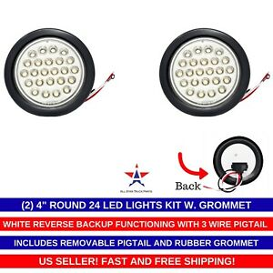 4 Inch White 24 Led Round Reverse Backup Tail Trailer Light Kit Grommet Qty 2