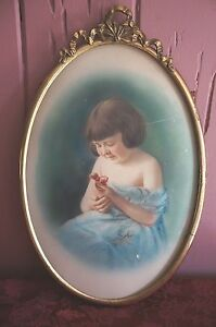 Large Oval Metal Antique Frame With Print Of Small Girl