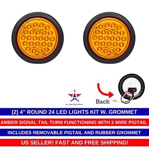 4 Inch Amber 24 Led Round Signal side tail turn Trailer Light Kit Grommet qty 2