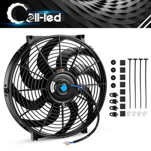 1x14 Inch Electric Universal Cooling Radiator Slim Fan For Jeep Auto 8 Blades