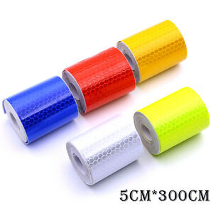 Car Truck Reflective Self Adhesive Safety Warning Tape Roll Film Sticker 4 Color