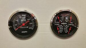 5 Quad Black Mech Street Rod Gauge Set Including 5 Tach Hot Rod Univer