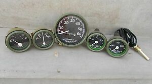 Willys Mb Jeep Ford Gpw Gauges Kit Speedometer Temp Oil Fuel Ampere Green