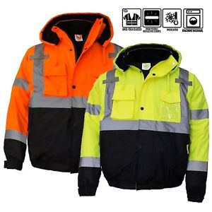 Class3 Men s Hi Viz Reflective Waterproof Winter Bomber Safety Jacket wj9011 12