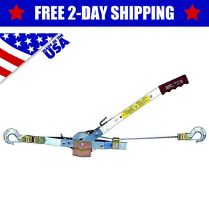 Usa Made 1 Ton Heavy Duty Come Along Power Puller Hand Winch Cable Pulley Tackle