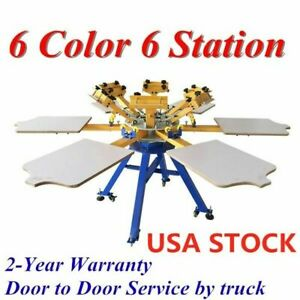 6 Color 6 Station Silk Screen Printing Machine Press T shirt Printer Us Stock
