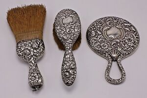 A Sterling 3 Pc Lot Set Antique Vtg Ornate Repousse Vanity Silver Brush Mirror
