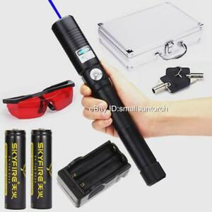 New High Power Blue Laser Pointers 5000lm 450nm Focusable Burning Match 2x18650
