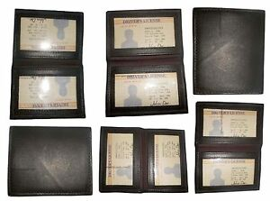 New Slim Leather Credit Card Id Card Picture Holder 2 Id Windows New Lot Of 6