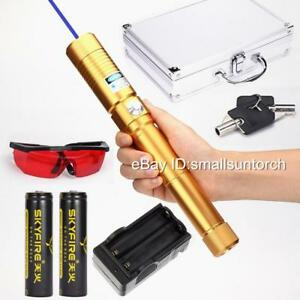 2018 Powerful Blue Laser Pointers Laser Torch Pen 5000lm Burning Laser 2x18650 K