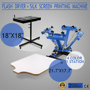 4 Color Screen Printing 1 Station Kit 18 X 18 Flash Dryer Wood Adjustable Press
