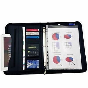 Zippered Executive 3 Ring Binder Portfolio With Built In Calculator Led Pen A